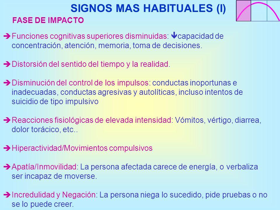 SIGNOS MAS HABITUALES (I) Funciones cognitivas superiores disminuidas: capacidad de concentración, atención, memoria, toma de decisiones. Distorsión d