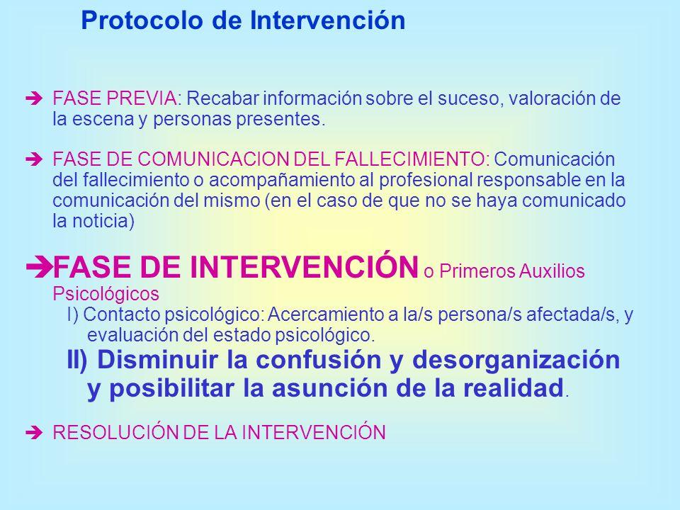 FASE PREVIA: Recabar información sobre el suceso, valoración de la escena y personas presentes. FASE DE COMUNICACION DEL FALLECIMIENTO: Comunicación d