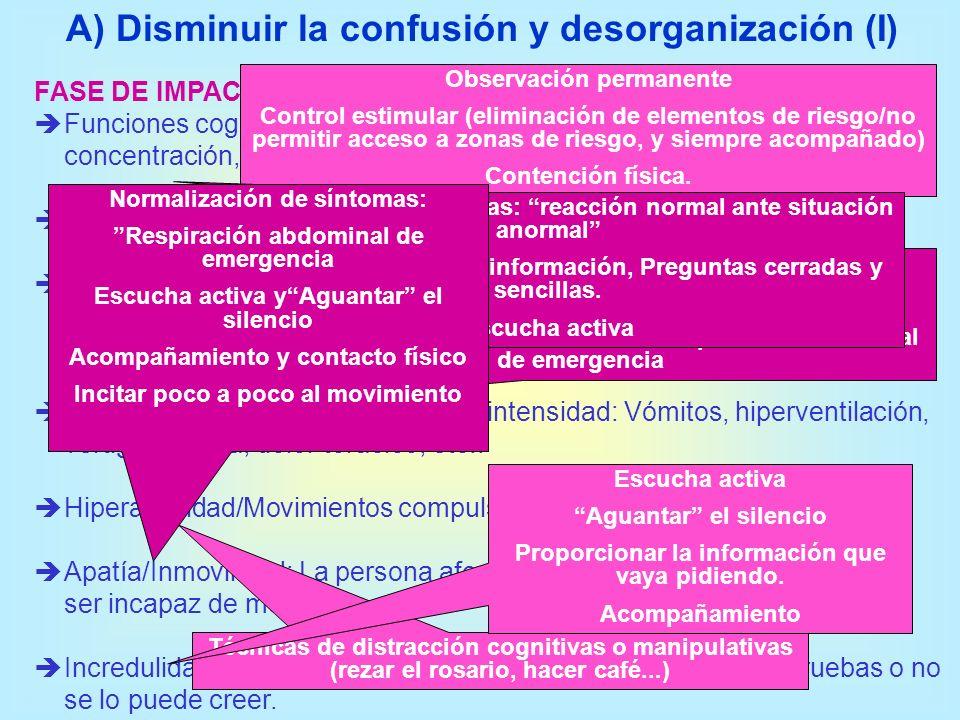 A) Disminuir la confusión y desorganización (I) FASE DE IMPACTO Funciones cognitivas superiores disminuidas: capacidad de concentración, atención, mem