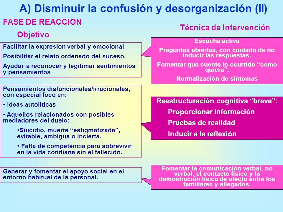FASE DE REACCION A) Disminuir la confusión y desorganización (II) Objetivo Técnica de Intervención Facilitar la expresión verbal y emocional Posibilit