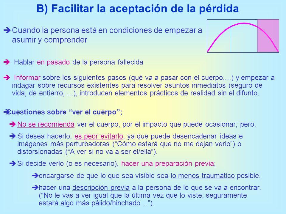B) Facilitar la aceptación de la pérdida Hablar en pasado de la persona fallecida Informar sobre los siguientes pasos (qué va a pasar con el cuerpo,..