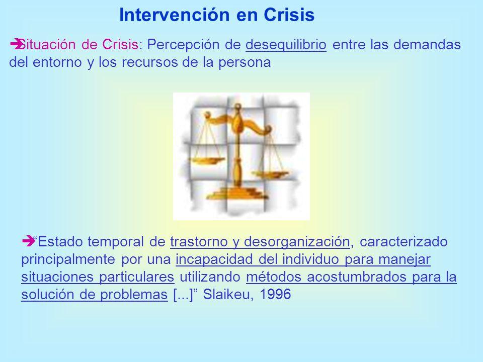 Situación de Crisis: Percepción de desequilibrio entre las demandas del entorno y los recursos de la persona Estado temporal de trastorno y desorganiz