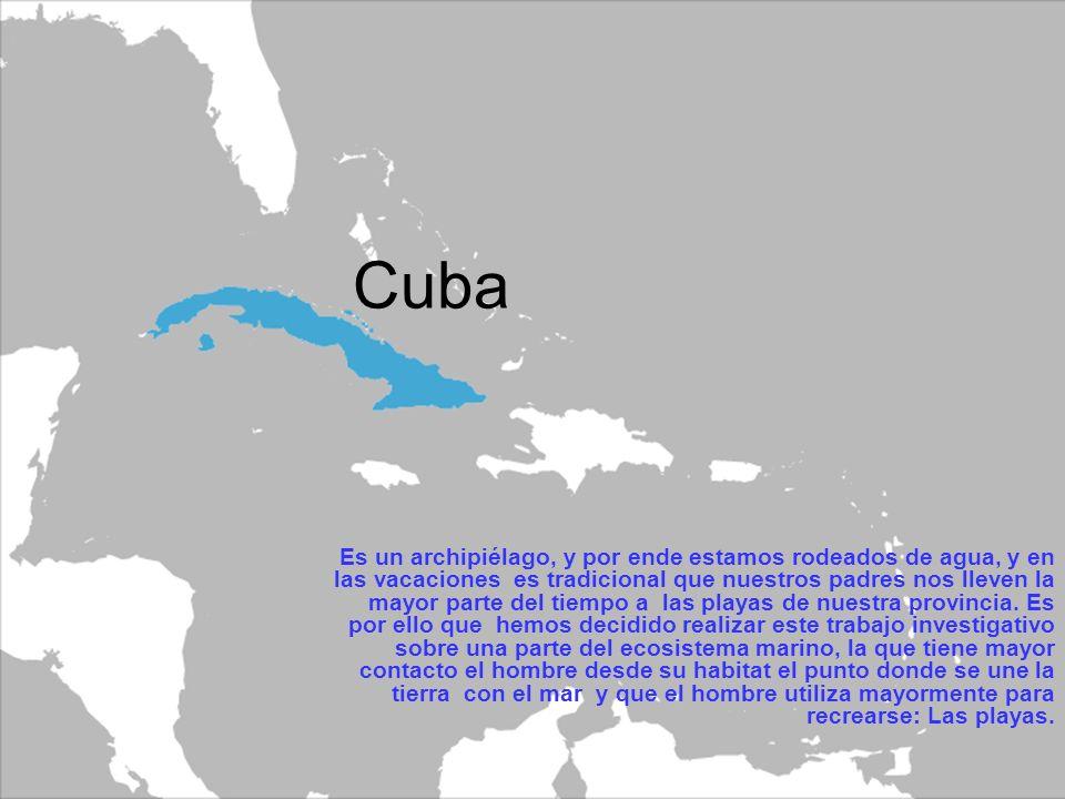 Cuba Es un archipiélago, y por ende estamos rodeados de agua, y en las vacaciones es tradicional que nuestros padres nos lleven la mayor parte del tiempo a las playas de nuestra provincia.