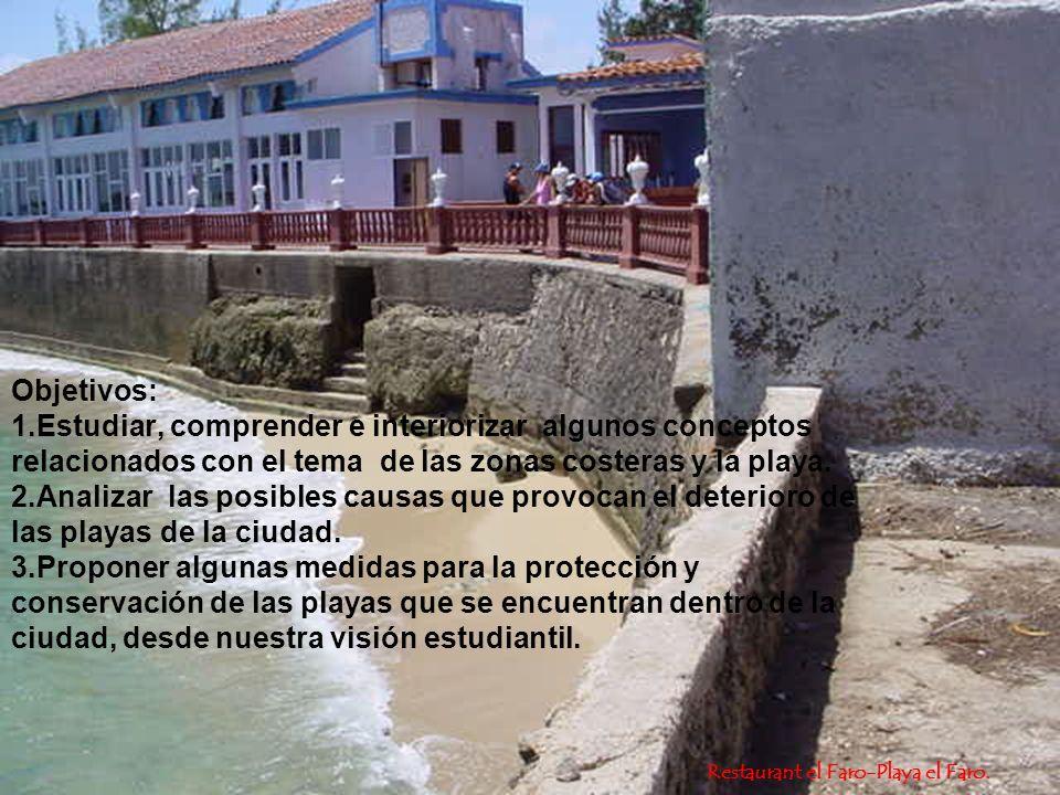 Restaurant el Faro-Playa el Faro. Objetivos: 1.Estudiar, comprender e interiorizar algunos conceptos relacionados con el tema de las zonas costeras y