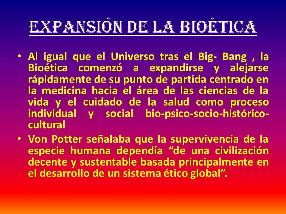 EXPANSIÓN DE LA BIOÉTICA Al igual que el Universo tras el Big- Bang, la Bioética comenzó a expandirse y alejarse rápidamente de su punto de partida ce