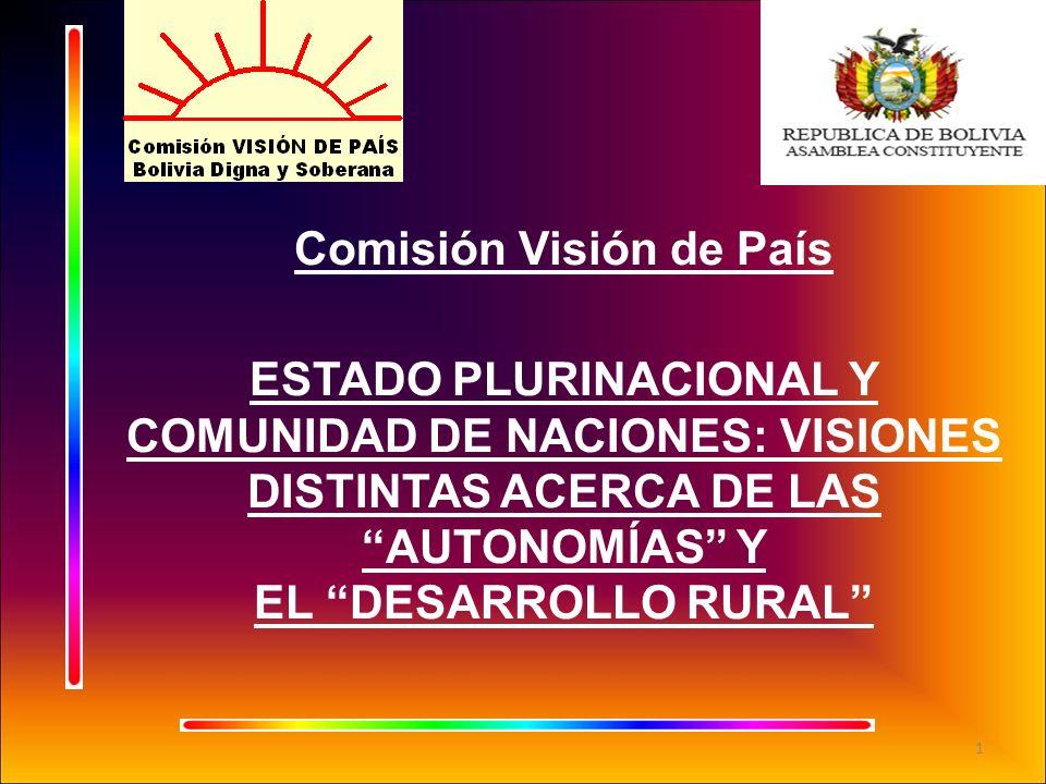 Comisión Visión de País ESTADO PLURINACIONAL Y COMUNIDAD DE NACIONES: VISIONES DISTINTAS ACERCA DE LAS AUTONOMÍAS Y EL DESARROLLO RURAL 1