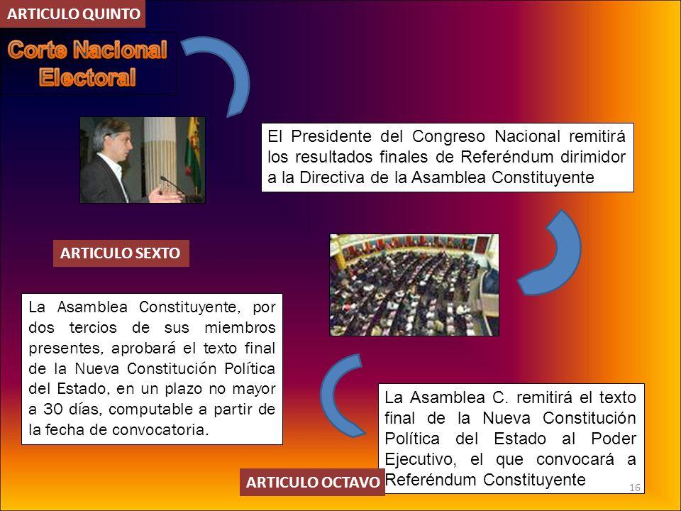 La Asamblea Constituyente, por dos tercios de sus miembros presentes, aprobará el texto final de la Nueva Constitución Política del Estado, en un plaz