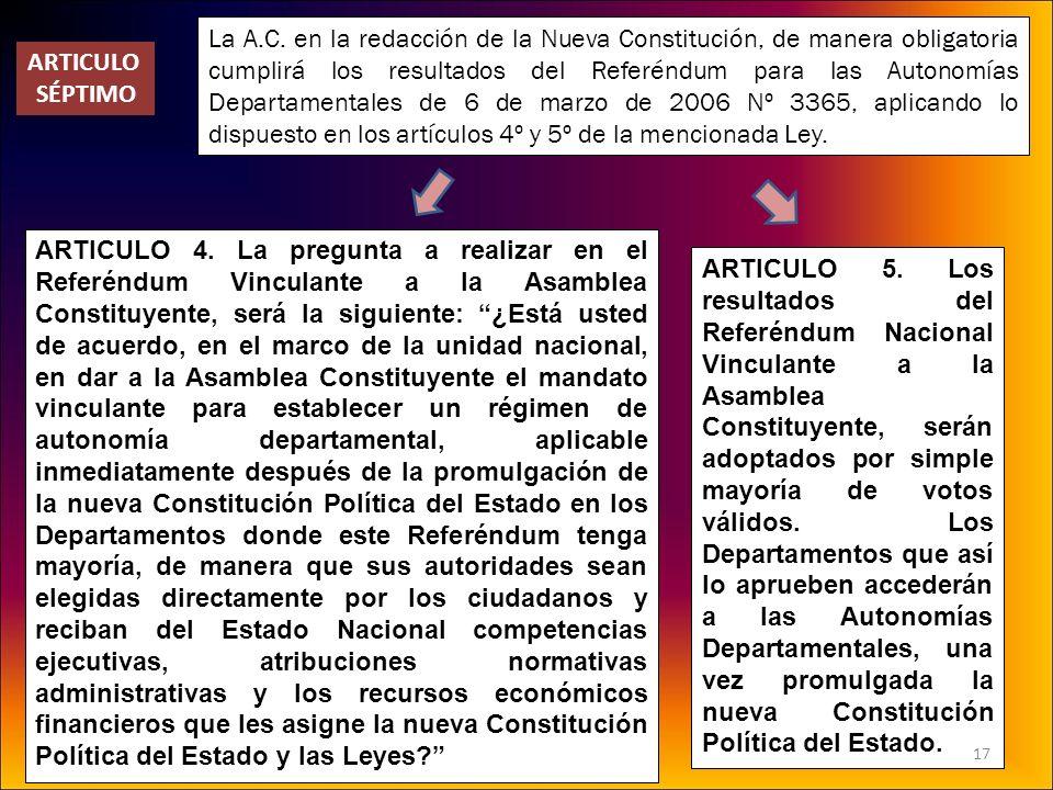 La A.C. en la redacción de la Nueva Constitución, de manera obligatoria cumplirá los resultados del Referéndum para las Autonomías Departamentales de