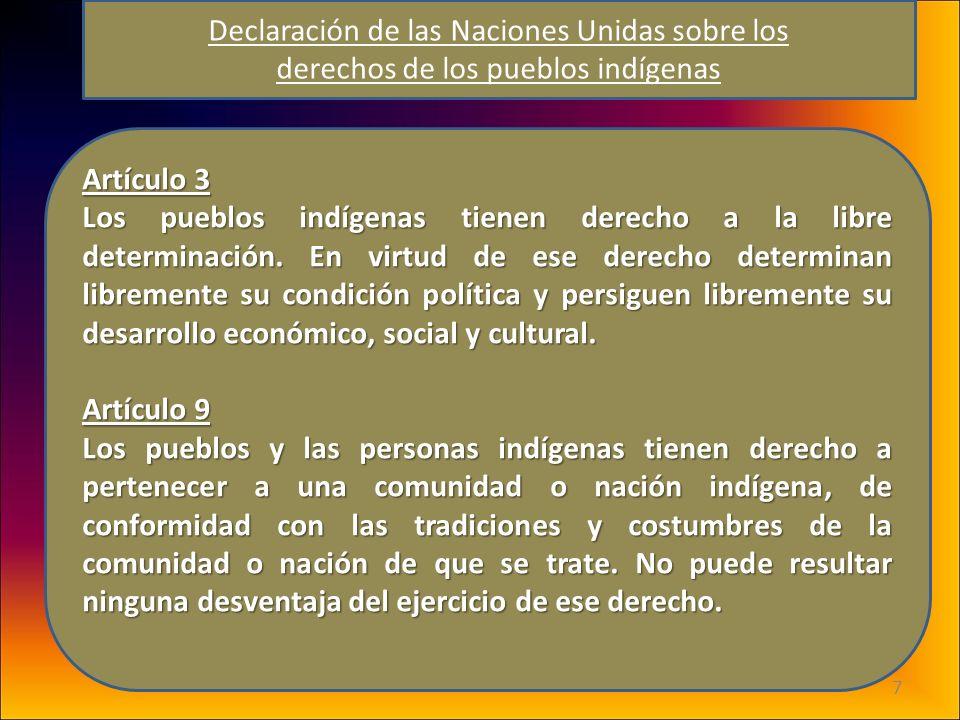 7 Artículo 3 Los pueblos indígenas tienen derecho a la libre determinación. En virtud de ese derecho determinan libremente su condición política y per