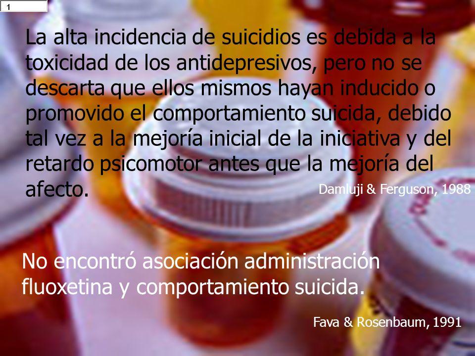 La alta incidencia de suicidios es debida a la toxicidad de los antidepresivos, pero no se descarta que ellos mismos hayan inducido o promovido el com