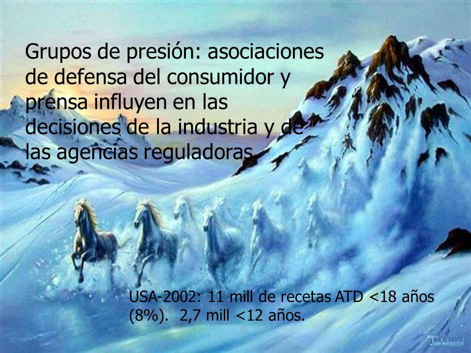 Grupos de presión: asociaciones de defensa del consumidor y prensa influyen en las decisiones de la industria y de las agencias reguladoras. USA-2002: