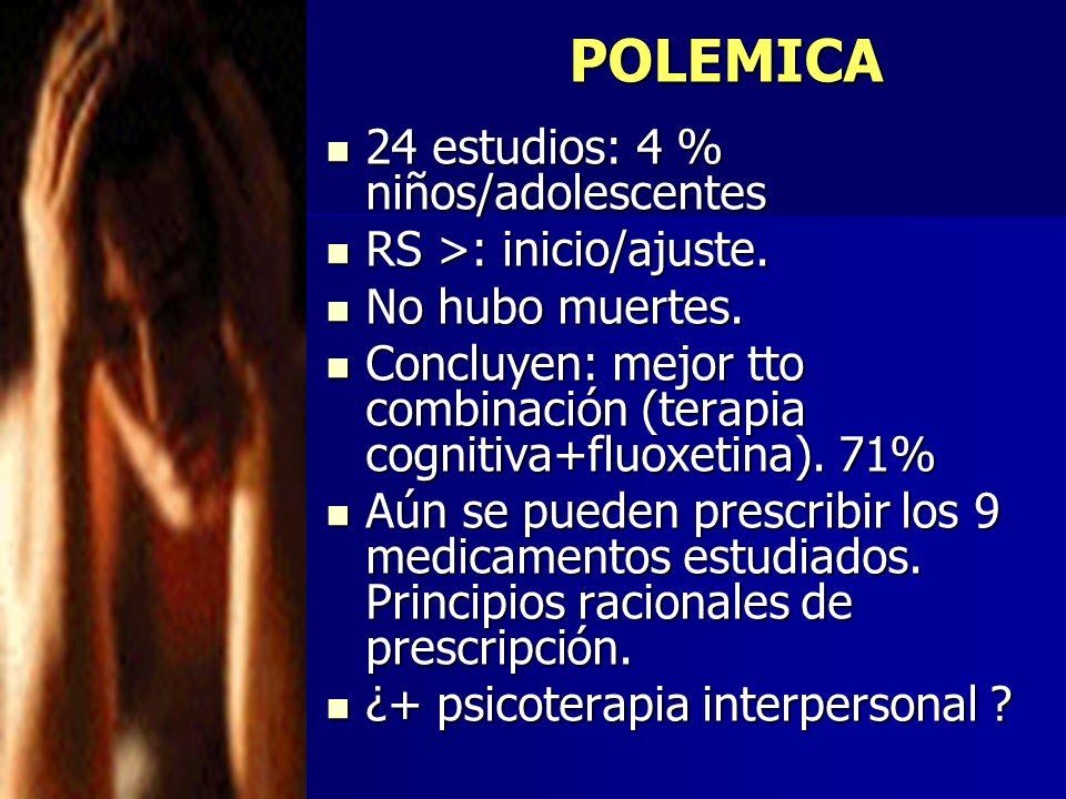 POLEMICA 24 estudios: 4 % niños/adolescentes 24 estudios: 4 % niños/adolescentes RS >: inicio/ajuste. RS >: inicio/ajuste. No hubo muertes. No hubo mu
