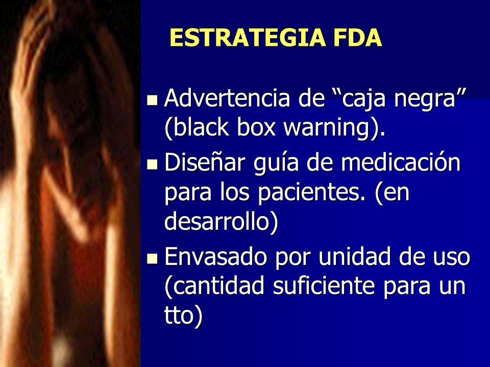 ESTRATEGIA FDA Advertencia de caja negra (black box warning). Advertencia de caja negra (black box warning). Diseñar guía de medicación para los pacie