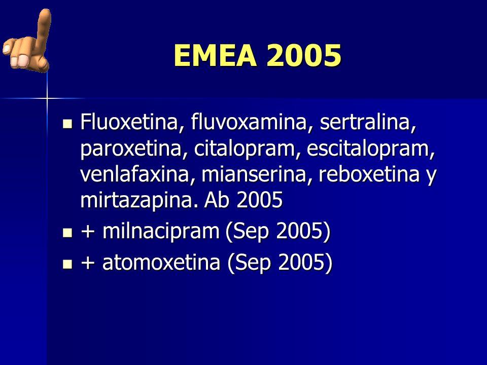 EMEA 2005 Fluoxetina, fluvoxamina, sertralina, paroxetina, citalopram, escitalopram, venlafaxina, mianserina, reboxetina y mirtazapina. Ab 2005 Fluoxe