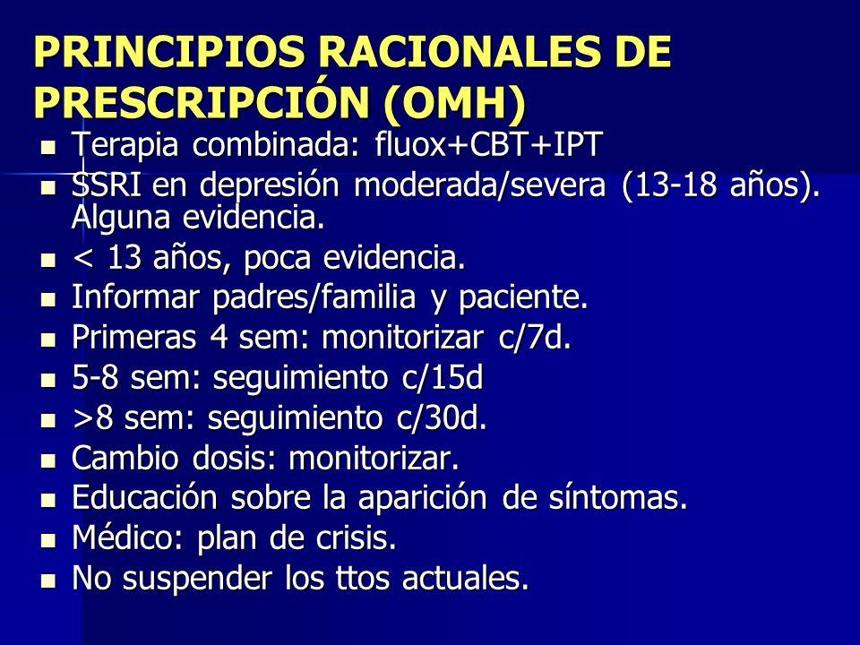 PRINCIPIOS RACIONALES DE PRESCRIPCIÓN (OMH) Terapia combinada: fluox+CBT+IPT Terapia combinada: fluox+CBT+IPT SSRI en depresión moderada/severa (13-18