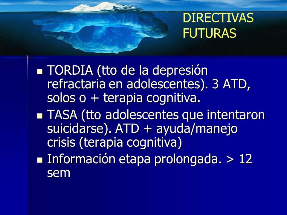 TORDIA (tto de la depresión refractaria en adolescentes). 3 ATD, solos o + terapia cognitiva. TORDIA (tto de la depresión refractaria en adolescentes)