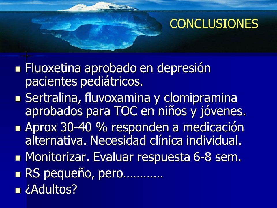 Fluoxetina aprobado en depresión pacientes pediátricos. Fluoxetina aprobado en depresión pacientes pediátricos. Sertralina, fluvoxamina y clomipramina