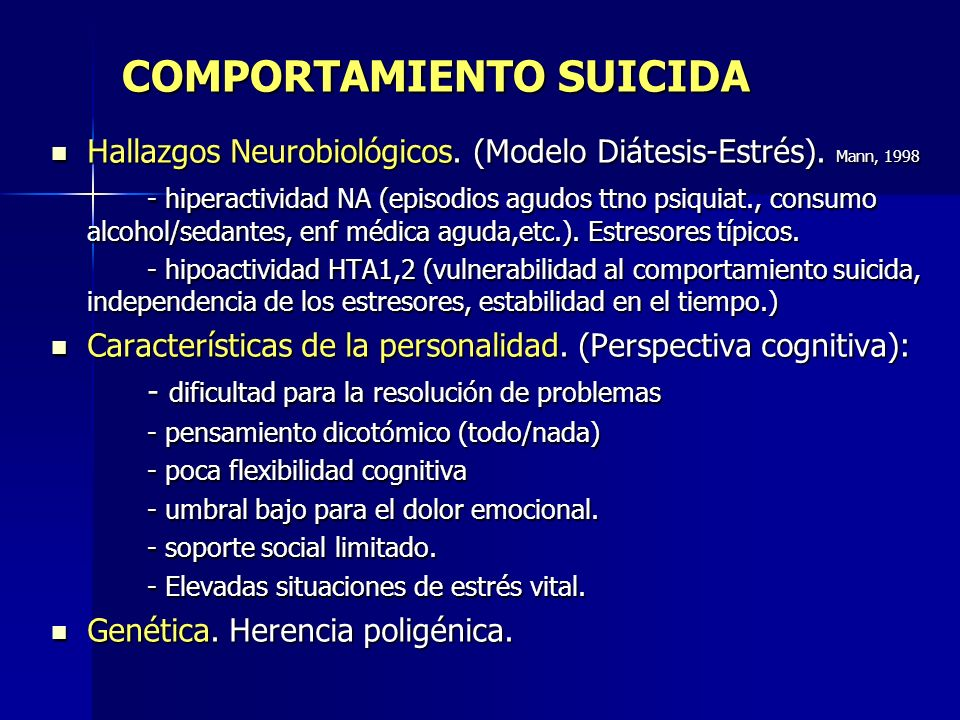 COMPORTAMIENTO SUICIDA Hallazgos Neurobiológicos. (Modelo Diátesis-Estrés). Mann, 1998 Hallazgos Neurobiológicos. (Modelo Diátesis-Estrés). Mann, 1998