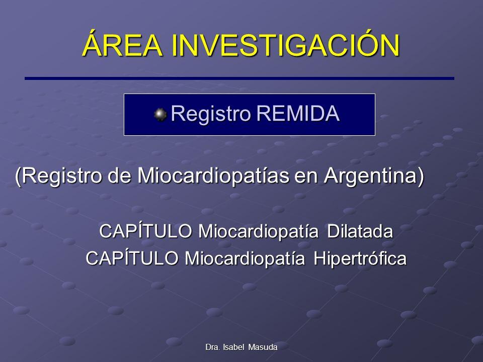 Dra. Isabel Masuda ÁREA INVESTIGACIÓN Registro REMIDA (Registro de Miocardiopatías en Argentina) CAPÍTULO Miocardiopatía Dilatada CAPÍTULO Miocardiopa