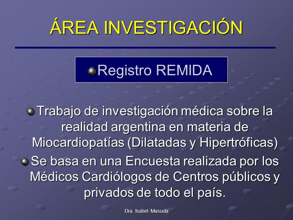 Dra. Isabel Masuda ÁREA INVESTIGACIÓN Registro REMIDA Trabajo de investigación médica sobre la realidad argentina en materia de Miocardiopatías (Dilat