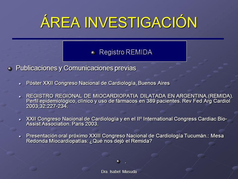Dra. Isabel Masuda ÁREA INVESTIGACIÓN Registro REMIDA Publicaciones y Comunicaciones previas Póster XXII Congreso Nacional de Cardiología, Buenos Aire