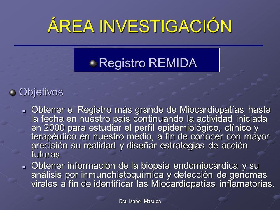 Dra. Isabel Masuda ÁREA INVESTIGACIÓN Registro REMIDA Objetivos Obtener el Registro más grande de Miocardiopatías hasta la fecha en nuestro país conti