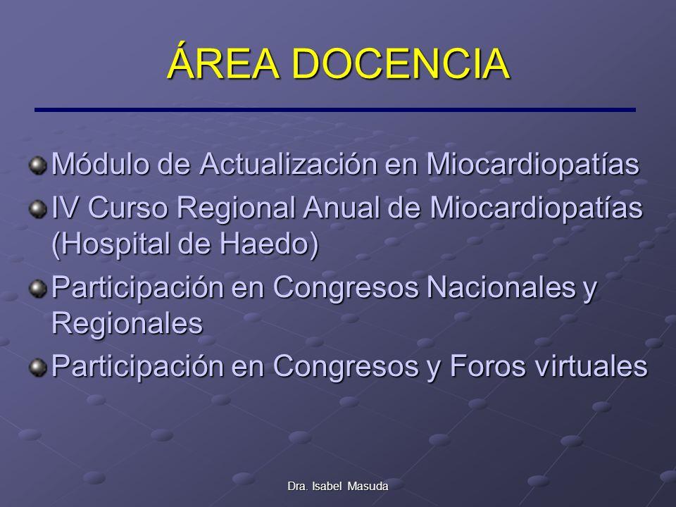 Dra. Isabel Masuda ÁREA DOCENCIA Módulo de Actualización en Miocardiopatías IV Curso Regional Anual de Miocardiopatías (Hospital de Haedo) Participaci