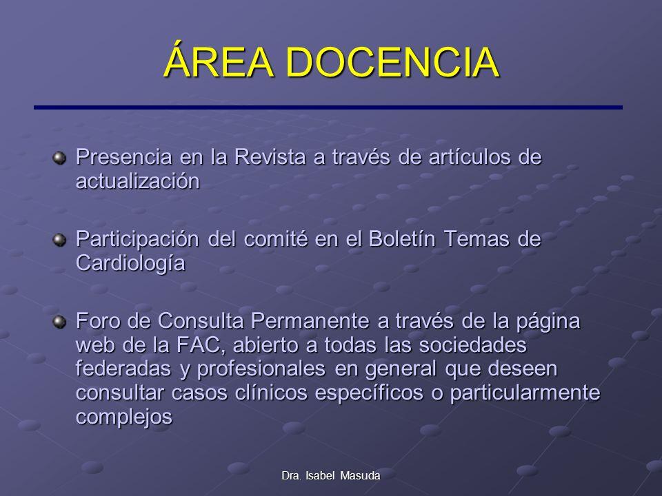Dra. Isabel Masuda ÁREA DOCENCIA Presencia en la Revista a través de artículos de actualización Participación del comité en el Boletín Temas de Cardio