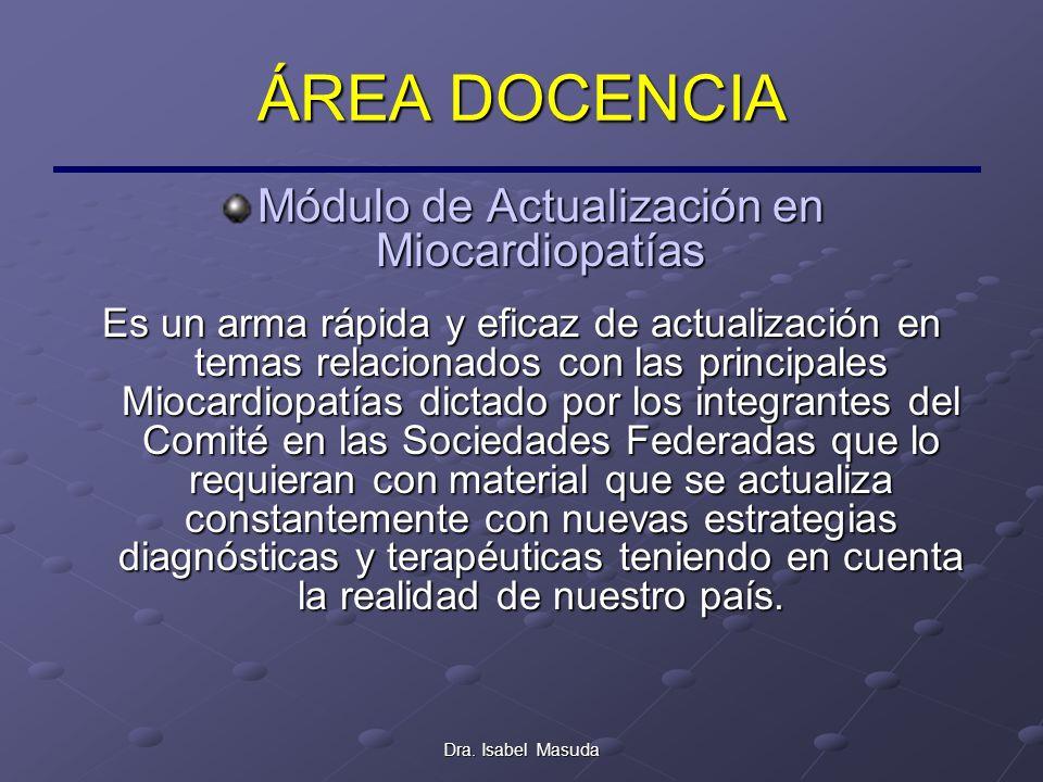 Dra. Isabel Masuda ÁREA DOCENCIA Módulo de Actualización en Miocardiopatías Es un arma rápida y eficaz de actualización en temas relacionados con las