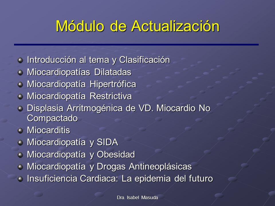 Dra. Isabel Masuda Módulo de Actualización Introducción al tema y Clasificación Miocardiopatías Dilatadas Miocardiopatía Hipertrófica Miocardiopatía R