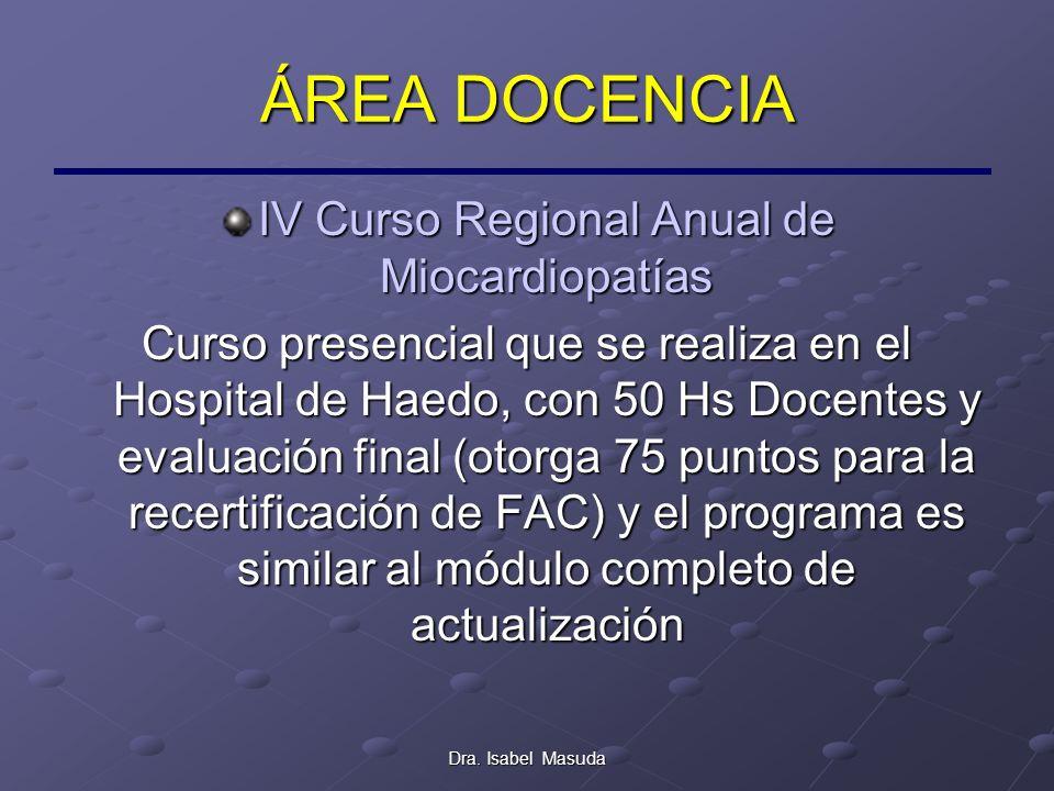 Dra. Isabel Masuda ÁREA DOCENCIA IV Curso Regional Anual de Miocardiopatías Curso presencial que se realiza en el Hospital de Haedo, con 50 Hs Docente