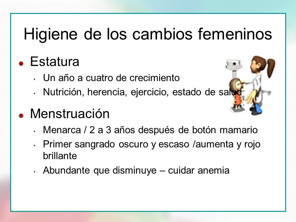 Higiene de los cambios femeninos Estatura Un año a cuatro de crecimiento Nutrición, herencia, ejercicio, estado de salud Menstruación Menarca / 2 a 3