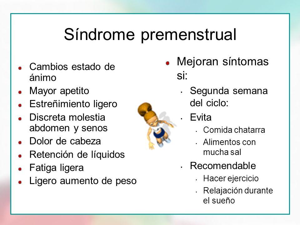 Síndrome premenstrual Cambios estado de ánimo Mayor apetito Estreñimiento ligero Discreta molestia abdomen y senos Dolor de cabeza Retención de líquid