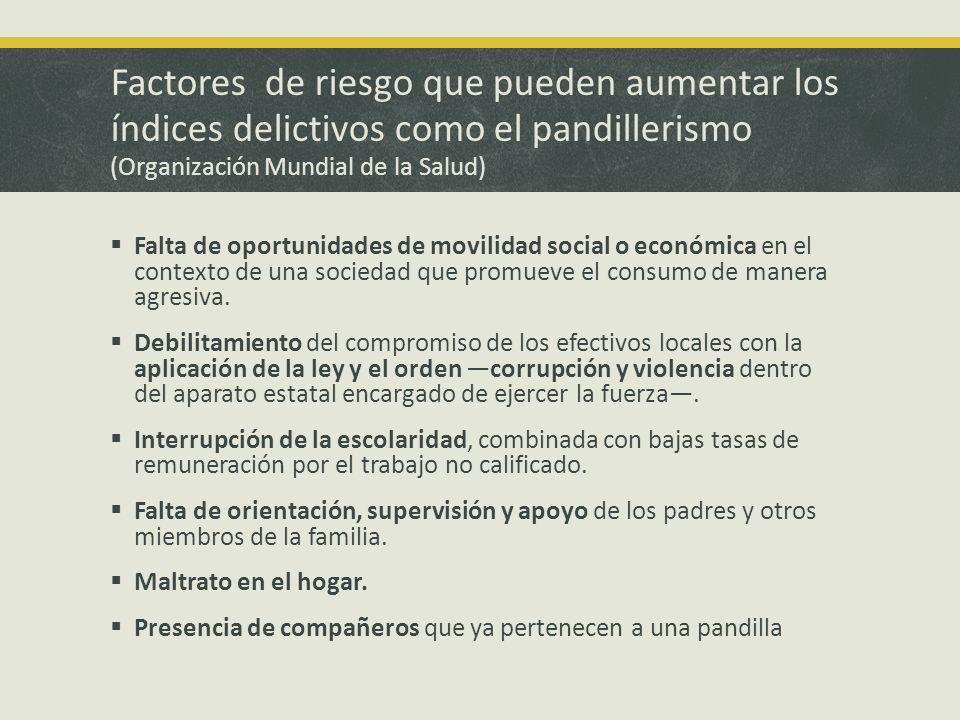 Factores de riesgo que pueden aumentar los índices delictivos como el pandillerismo (Organización Mundial de la Salud) Falta de oportunidades de movilidad social o económica en el contexto de una sociedad que promueve el consumo de manera agresiva.
