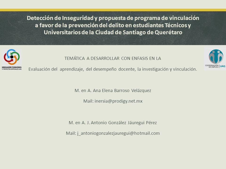Detección de Inseguridad y propuesta de programa de vinculación a favor de la prevención del delito en estudiantes Técnicos y Universitarios de la Ciudad de Santiago de Querétaro TEMÁTICA A DESARROLLAR CON ENFASIS EN LA Evaluación del aprendizaje, del desempeño docente, la investigación y vinculación.