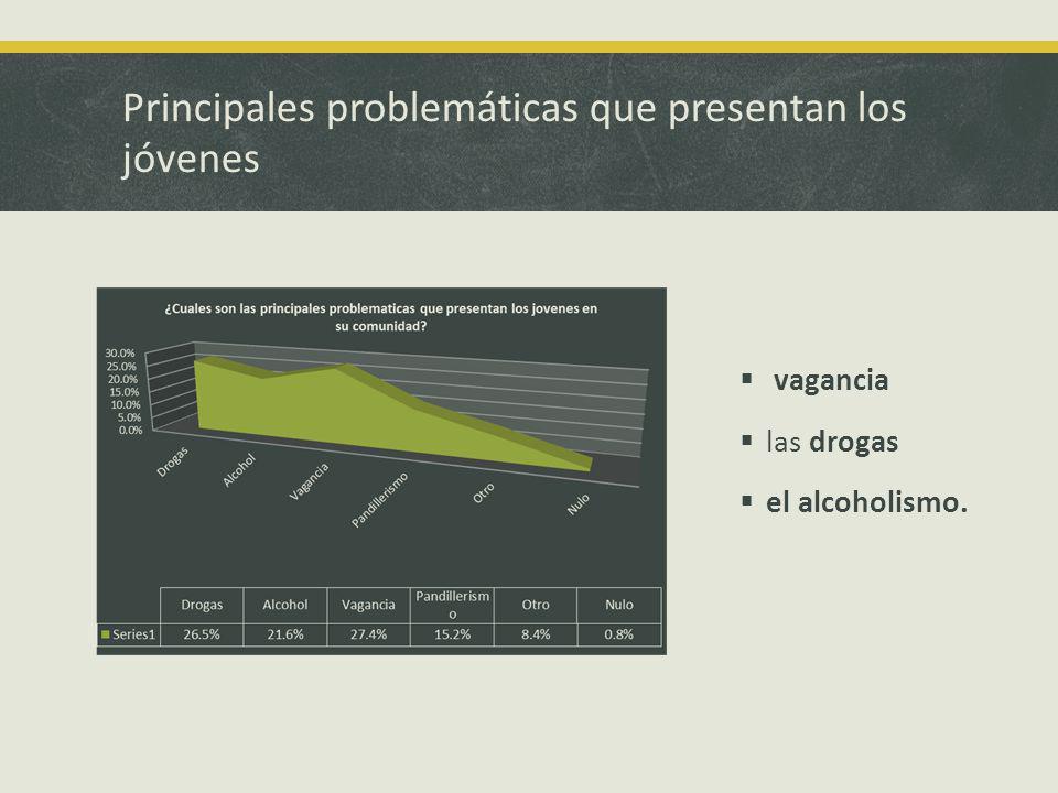 Principales problemáticas que presentan los jóvenes vagancia las drogas el alcoholismo.