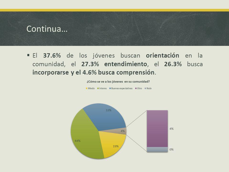 Continua… El 37.6% de los jóvenes buscan orientación en la comunidad, el 27.3% entendimiento, el 26.3% busca incorporarse y el 4.6% busca comprensión.
