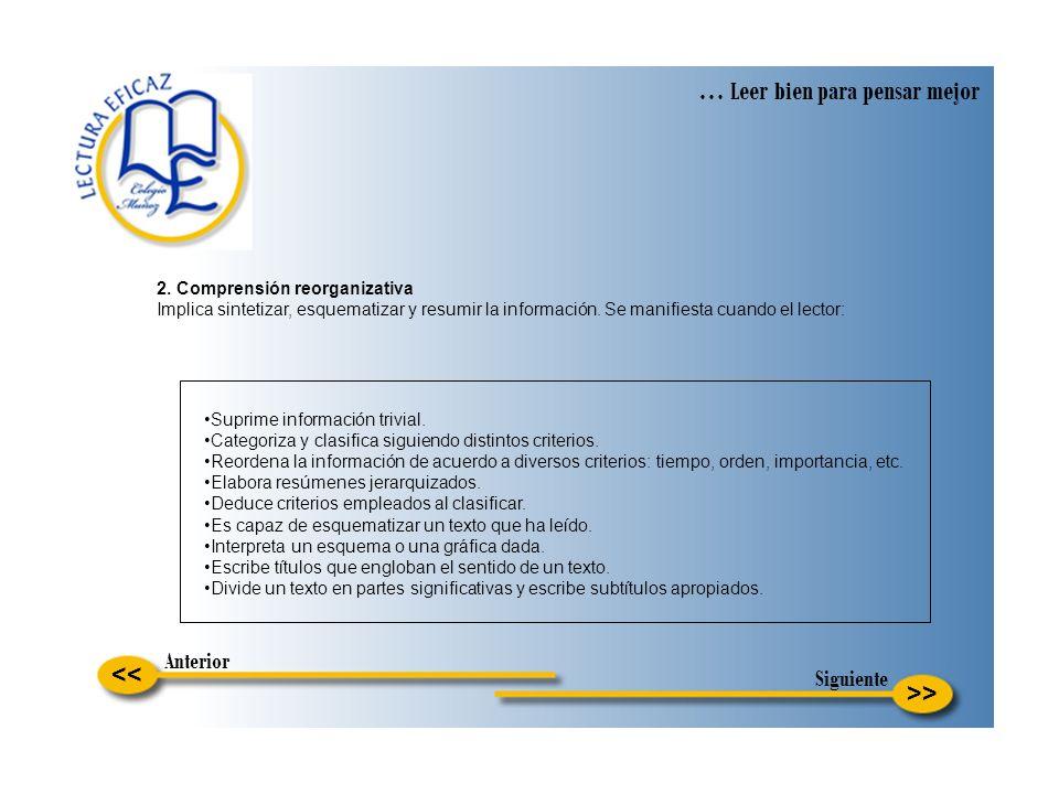 >> … Leer bien para pensar mejor << 2. Comprensión reorganizativa Implica sintetizar, esquematizar y resumir la información. Se manifiesta cuando el l