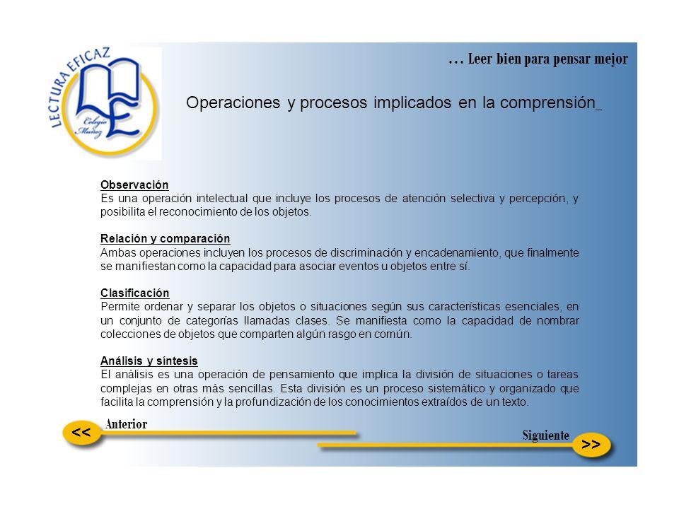 >> … Leer bien para pensar mejor Operaciones y procesos implicados en la comprensión Observación Es una operación intelectual que incluye los procesos