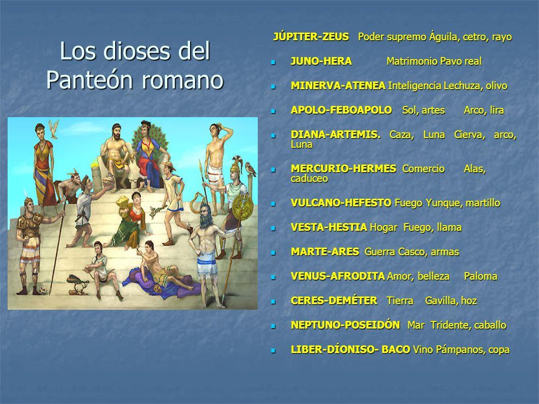 Los dioses del Panteón romano JÚPITER-ZEUS Poder supremo Águila, cetro, rayo JÚPITER-ZEUS Poder supremo Águila, cetro, rayo JUNO-HERAMatrimonio Pavo r