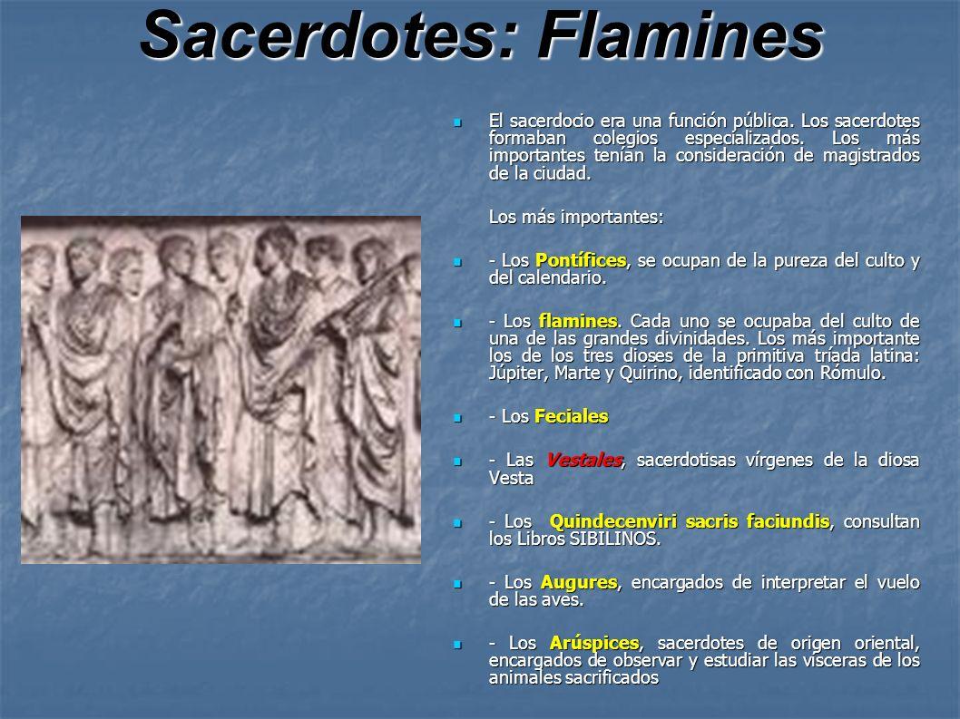 Sacerdotes: Flamines El sacerdocio era una función pública. Los sacerdotes formaban colegios especializados. Los más importantes tenían la consideraci