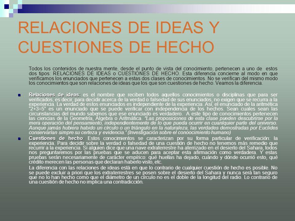RELACIONES DE IDEAS Y CUESTIONES DE HECHO Todos los contenidos de nuestra mente, desde el punto de vista del conocimiento, pertenecen a uno de estos d