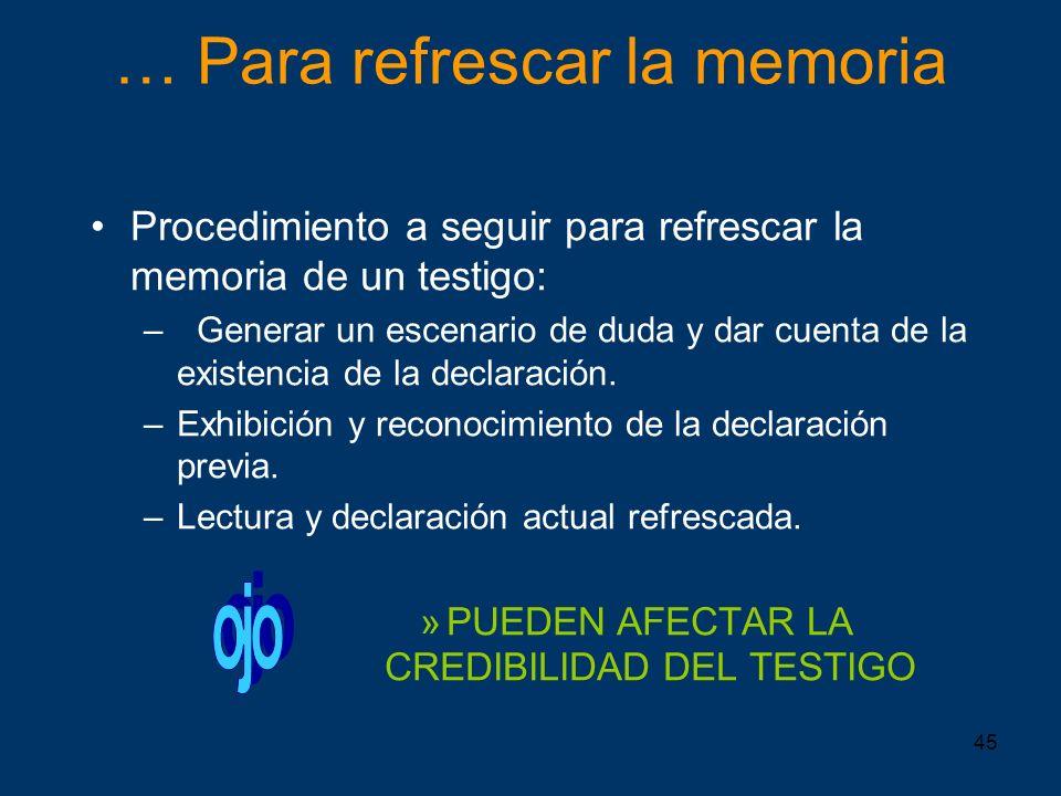 45 … Para refrescar la memoria Procedimiento a seguir para refrescar la memoria de un testigo: –Generar un escenario de duda y dar cuenta de la existe
