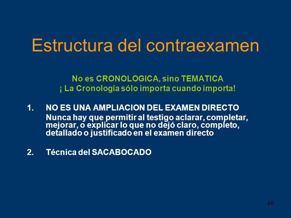 49 Estructura del contraexamen No es CRONOLOGICA, sino TEMATICA ¡ La Cronología sólo importa cuando importa! 1.NO ES UNA AMPLIACION DEL EXAMEN DIRECTO