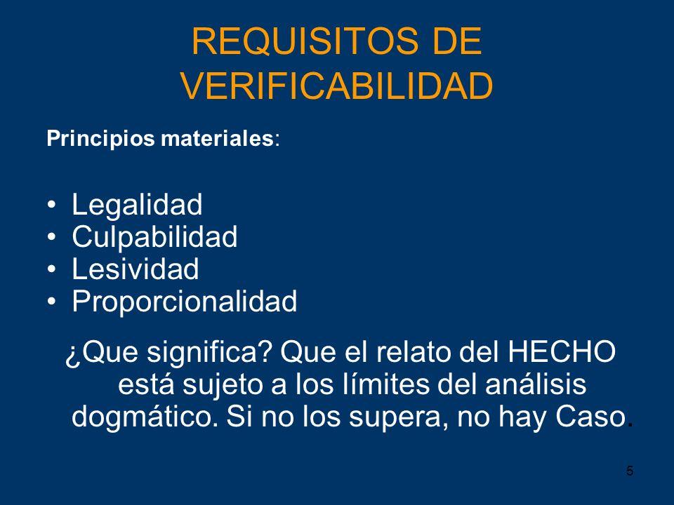 5 REQUISITOS DE VERIFICABILIDAD Principios materiales: Legalidad Culpabilidad Lesividad Proporcionalidad ¿Que significa? Que el relato del HECHO está