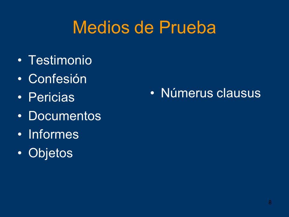 8 Medios de Prueba Testimonio Confesión Pericias Documentos Informes Objetos Númerus clausus
