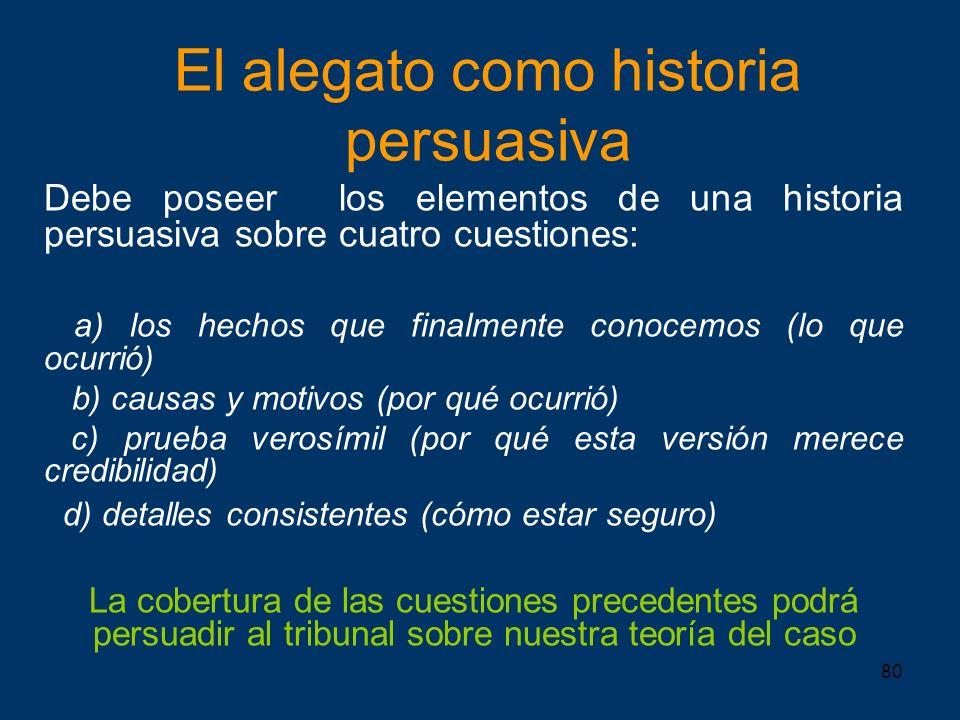 80 El alegato como historia persuasiva Debe poseer los elementos de una historia persuasiva sobre cuatro cuestiones: a) los hechos que finalmente cono