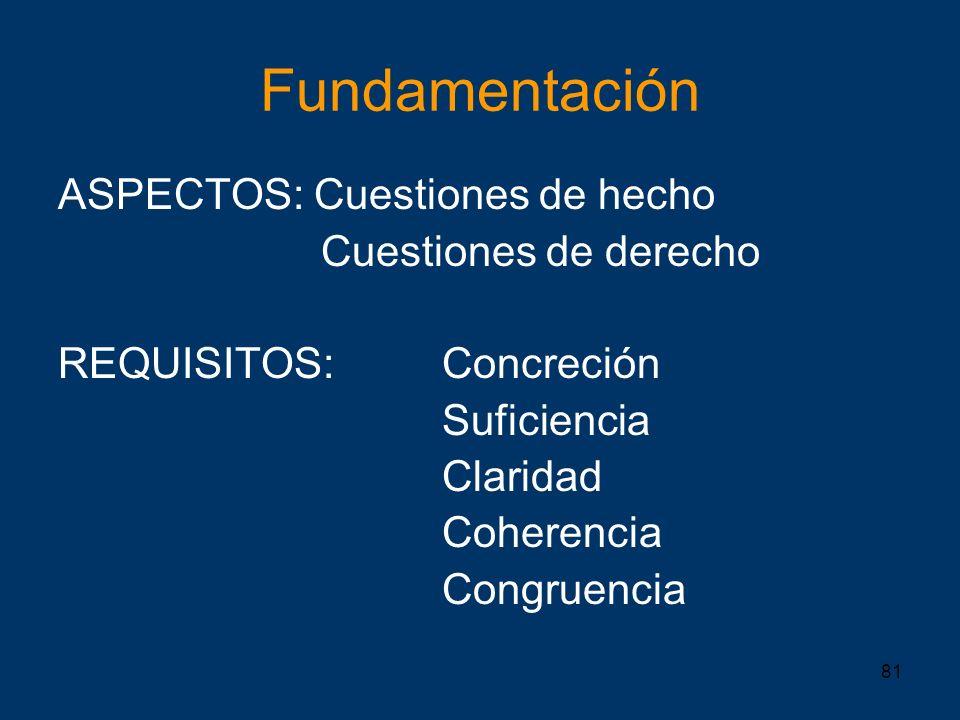 81 Fundamentación ASPECTOS: Cuestiones de hecho Cuestiones de derecho REQUISITOS: Concreción Suficiencia Claridad Coherencia Congruencia