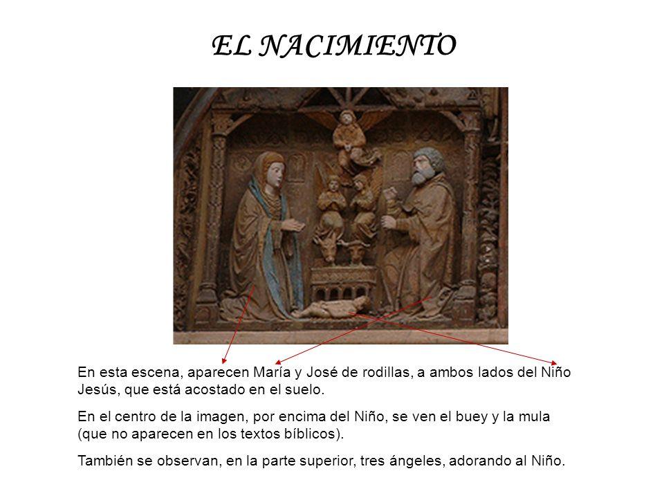EL NACIMIENTO En esta escena, aparecen María y José de rodillas, a ambos lados del Niño Jesús, que está acostado en el suelo. En el centro de la image