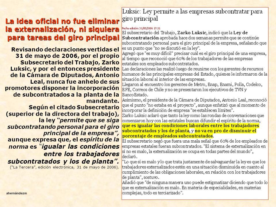 otra A fines del año 2003 se instala otra Comisión investigadora de la Cámara de Diputados, esta vez para indagar la situación de los derechos de los trabajadores, como consecuencia de las modificaciones introducidas por la ley 19.759 (conocida como reforma laboral año 2001).